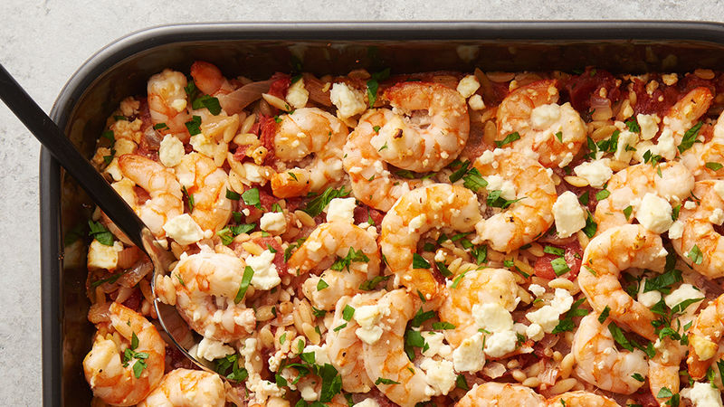 Baked Shrimp with Orzo and Feta