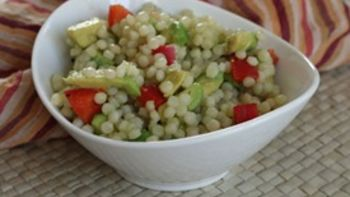 Avocado and Red Pepper Israeli Couscous