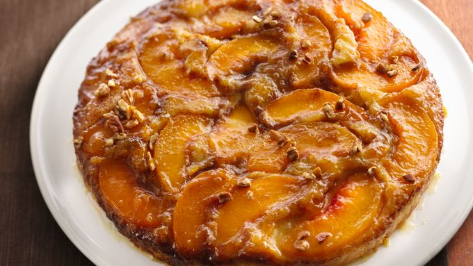 Caramelized Peach Upside Down Coffee Cake Recipe From
