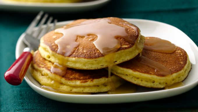 Eggnog Pancakes with Maple Butter Rum Drizzle
