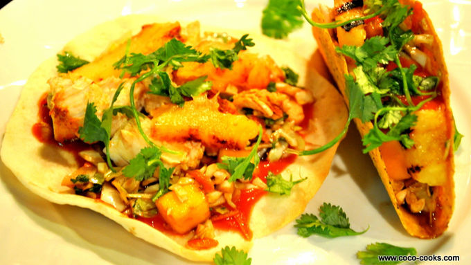 Old El Paso® Grilled Chicken and Pineapple Tacos with Cabbage and Mango Slaw