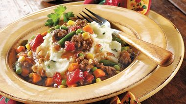 Beef Stew over Mashed Potatoes