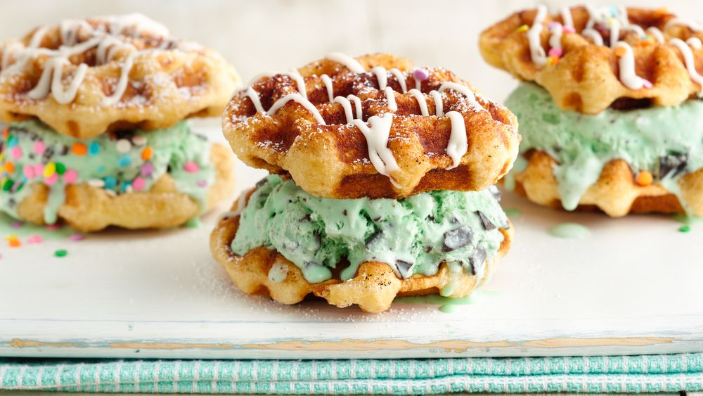 Cinnamon Roll Waffle Ice Cream Sandwiches