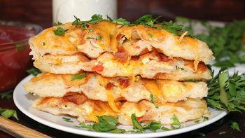 Western Omelet-Stuffed Biscuit Waffles