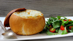 Chicken Cheese Enchilada Soup in Bread Bowls