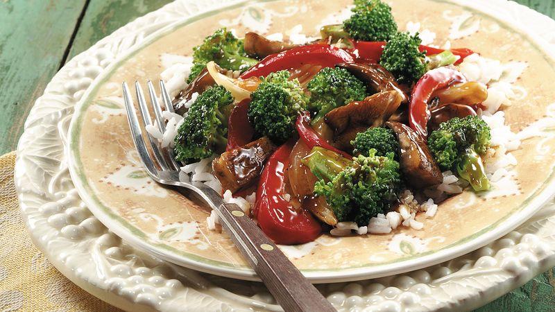 Portabella-Broccoli Stir-Fry