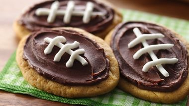 Frosted Peanut Butter Football Cookies