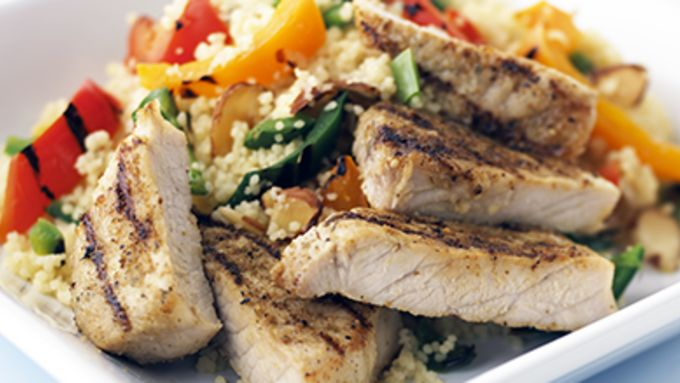 Skinny Cajun Pork with Fresh Pepper Couscous