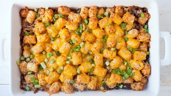 Three Cheese Beef Tater Tot Casserole