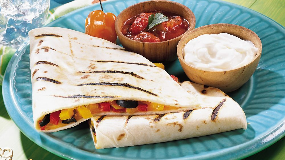 Roasted Pepper Quesadillas on the Grill