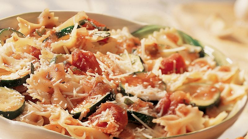 Parmesan Vegetables Over Bow Ties