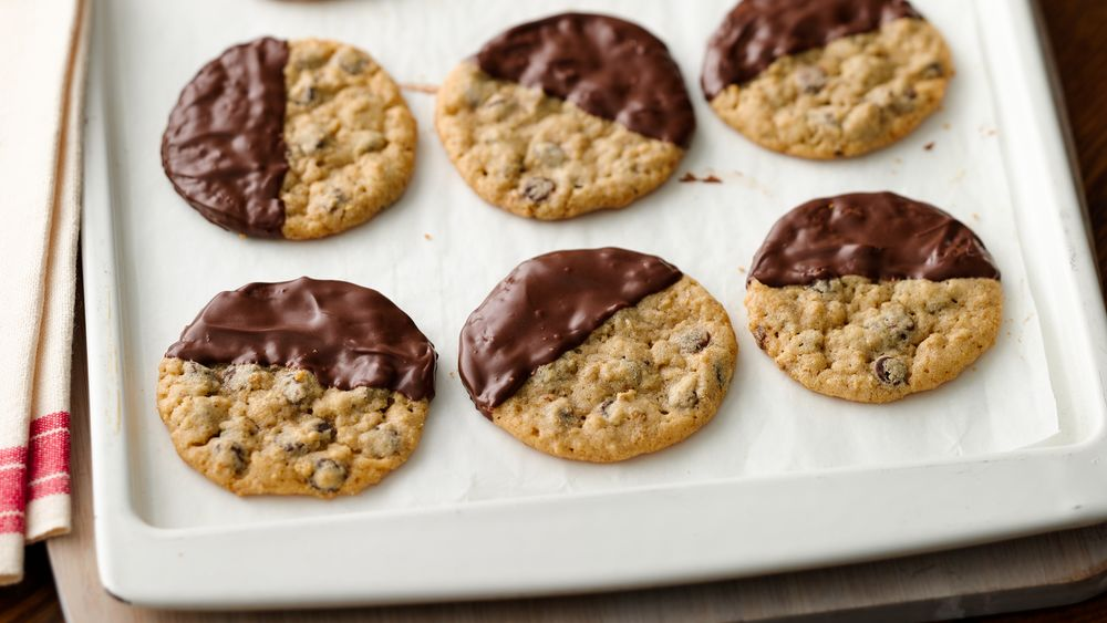 Dipped Oatmeal Chocolate Chip Cookies