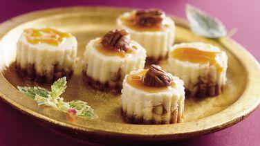 Bocadillos de Pastel de Queso con Caramelo y Nueces