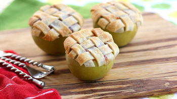 Apple Lattice Pie Baked in an Apple