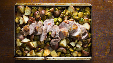 One-Pan Roasted Pork Loin Dinner with Bacon, Brussels Sprouts and Red Potatoes