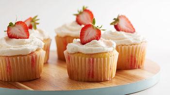 Strawberry Champagne Jello Poke Cupcakes