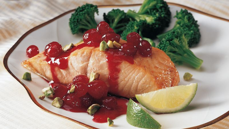 Salmon with Cranberry Pistachio Sauce