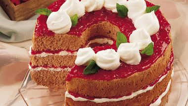 Low-Fat Chocolate Angel Cake with Raspberry-Orange Sauce