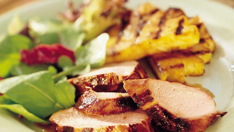 Grilled Teriyaki Pork Tenderloin and Pineapple