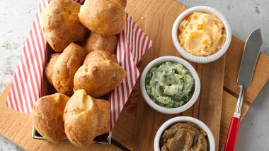 Mini-Popovers with Flavored Butter Trio