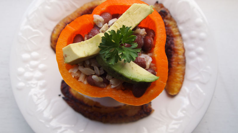 Gallo Pinto-Stuffed Peppers with Fried Sweet Plantains