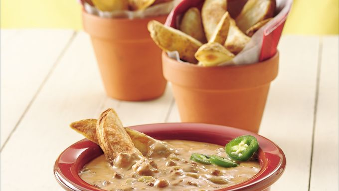 Chili Cheese Dip and Potato Wedges