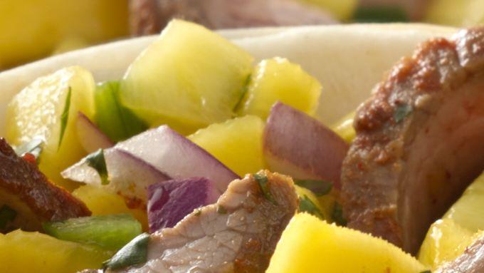 Flank Steak Taco Boats with Mango Salsa