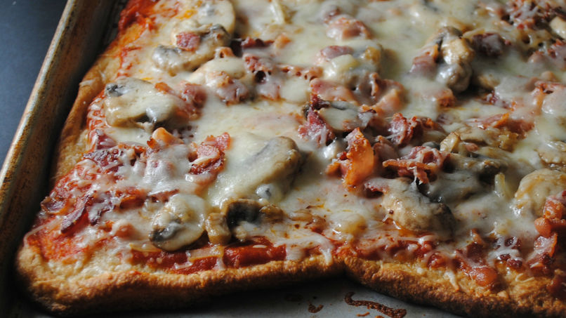 Three Cheese, Bacon and Mushroom Pizza