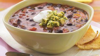 Black Bean Soup with Avocado Salsa