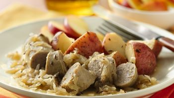 Turkey Brats with Potatoes and Sauerkraut