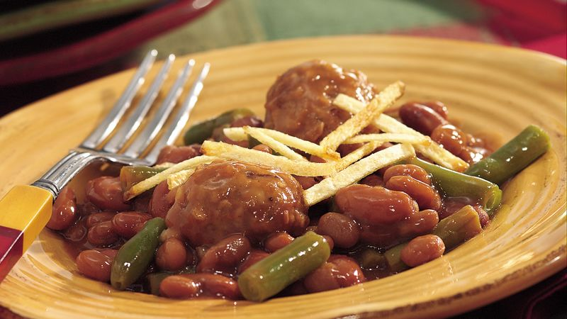 Crispy-Topped Meatballs and Baked Beans