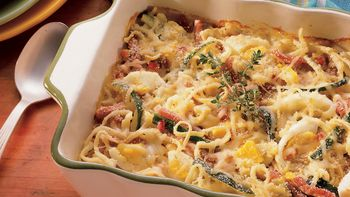 Ham and Egg Linguine Casserole