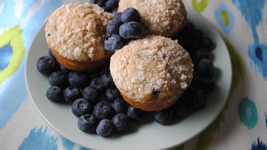 Whole Grain Blueberry Breakfast Muffins