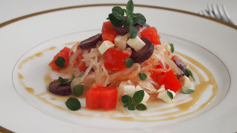 Spaghetti Squash with Tomato and Olives