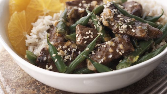 Skinny Sesame Beef and Green Beans
