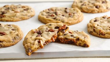Dulce de Leche Stuffed Chocolate Chip Pecan Cookies