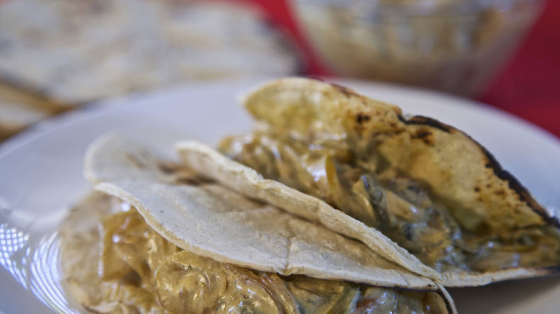 Poblano Chile Strips Tacos