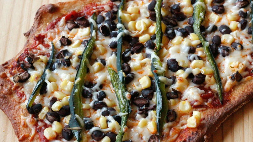 Vegetarian Pizza with Black Beans and Poblano Peppers