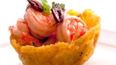 Ceviche Mexicano de Camarón en Cestitas de Tostón
