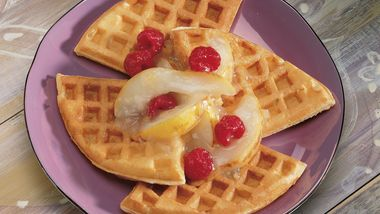 Pear and Ginger-Topped Waffles