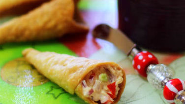 Tuna-Stuffed Pastry Cones