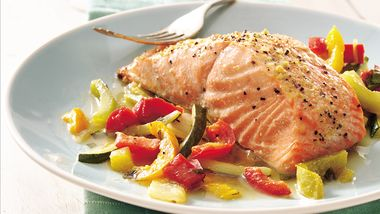Basil Salmon and Julienne Vegetables