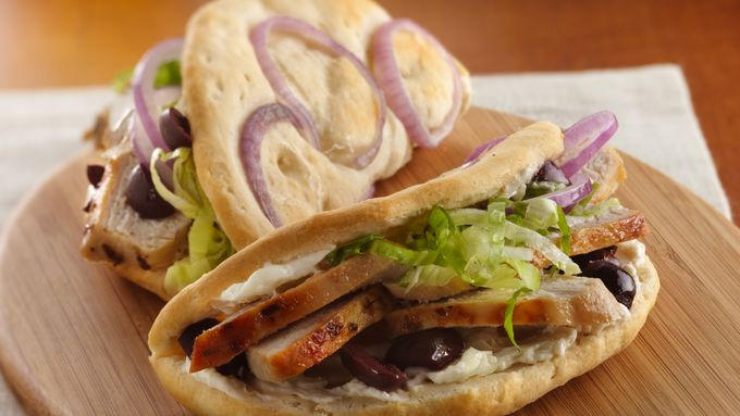 Greek Chicken Faux-coccia Sandwiches