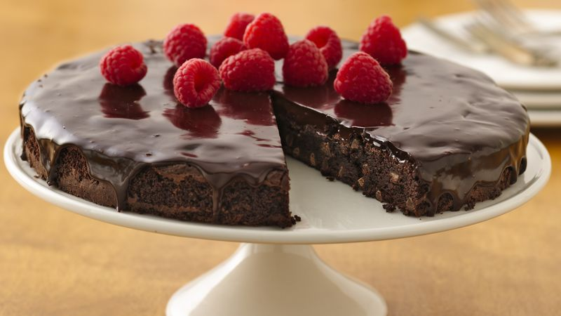Gluten-Free Brownie Ganache Torte with Raspberries