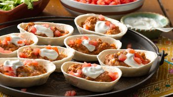 Mini Cheesy Refried Beans Boats