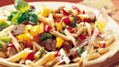 Grilled Italian Sausages with Pasta and Vegetables