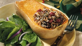 Honey-Walnut-Wild Rice Stuffed Butternut Squash