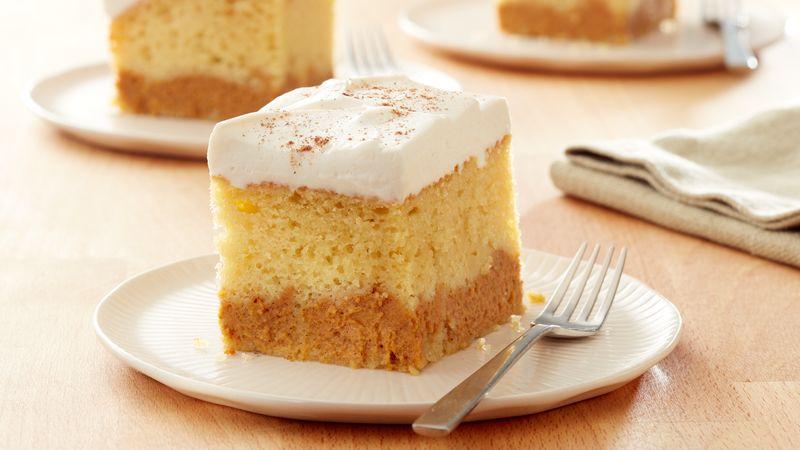 Layered Dessert Recipes With Cake Mix: Pumpkin Layered Magic Cake Recipe From Betty Crocker