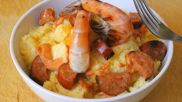Grits with Shrimp and Chorizo