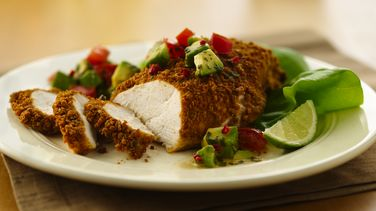 Lime Cumin Crusted Chicken with Avocado Salsa